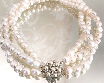 Pearl necklace, freshwater pearl multi strand necklace, statement necklace, baroque pearl necklace.