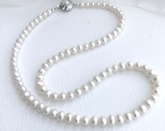 Pearl necklace, freshwater pearl necklace, 5mm ivory pearls, silver round box clasp set with a freshwater pearl.
