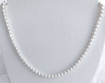 Pearl necklace, classic freshwater pearl necklace, 6mm freshwater pearls, brides jewellery, June birthday, 30th wedding anniversary.