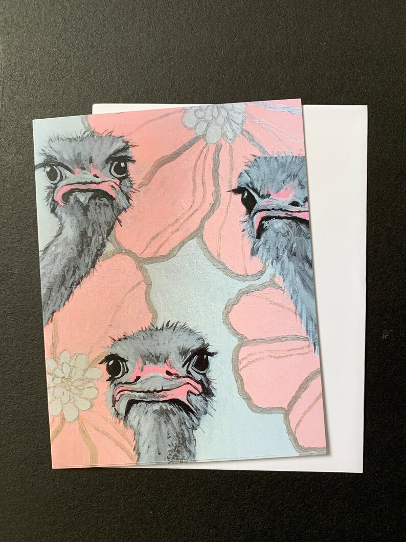 But We Wanted Tulips Ostriches Single Notecard image 0
