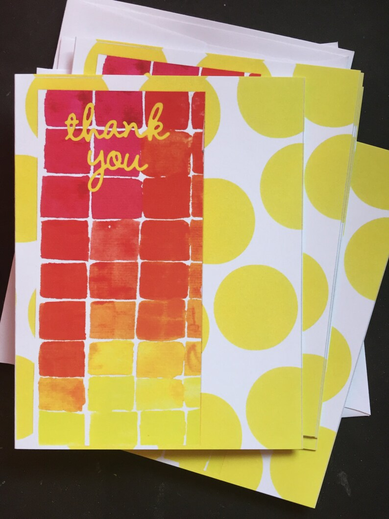Thank You on Red Watercolor Samples Notecard Set image 0