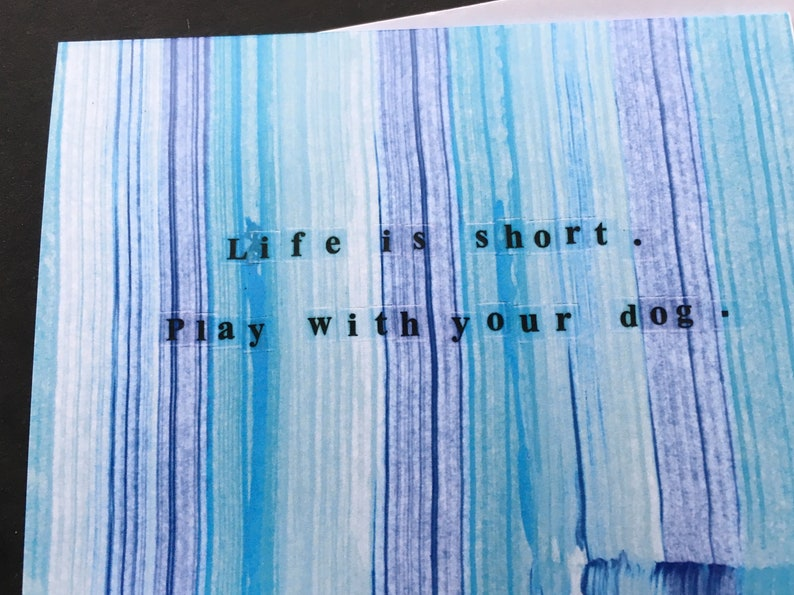 Play With Your Dog Blue Stripe Notecard Set image 0