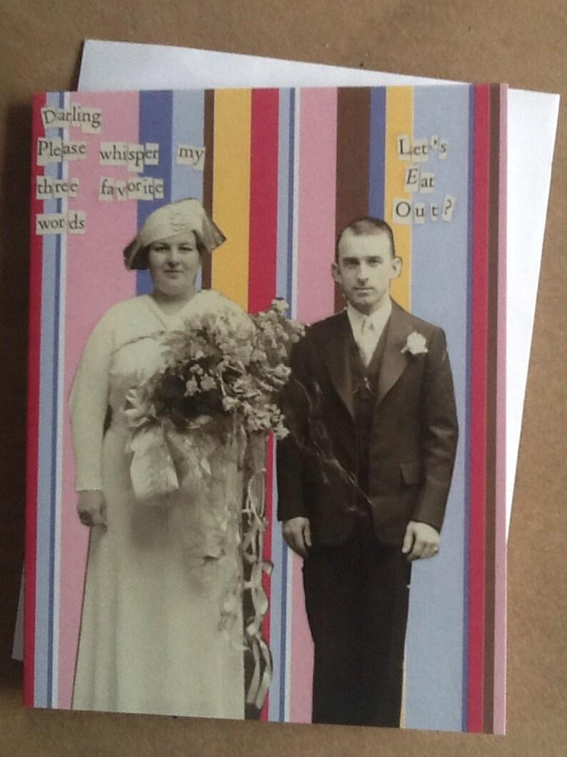 Lets Eat Out Single Card Vintage Couple Romance image 0