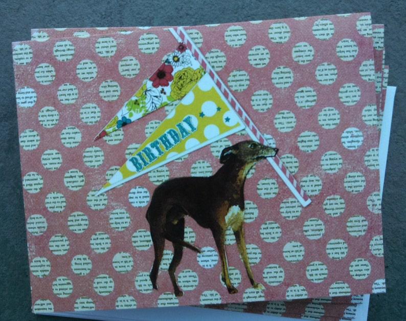 Happy Birthday Greyhound With Pennant Single Notecard image 0