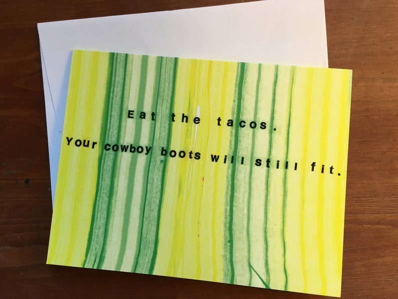 Eat The Tacos Yellow and Green Stripe Single Note Card image 0