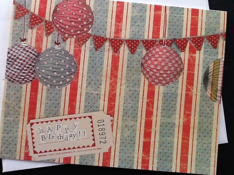 Red And Blue Festive Happy Birthday Single Notecard image 0