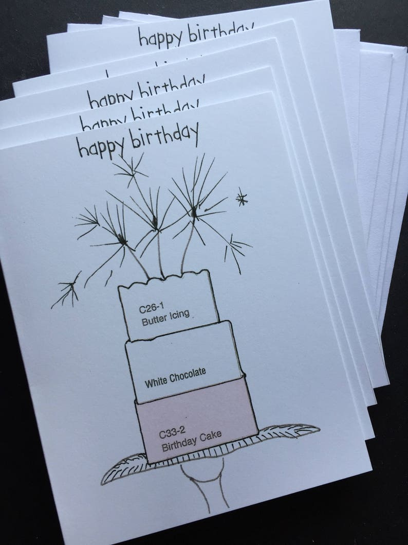 Paint Chip Happy Birthday Notecard Set image 0