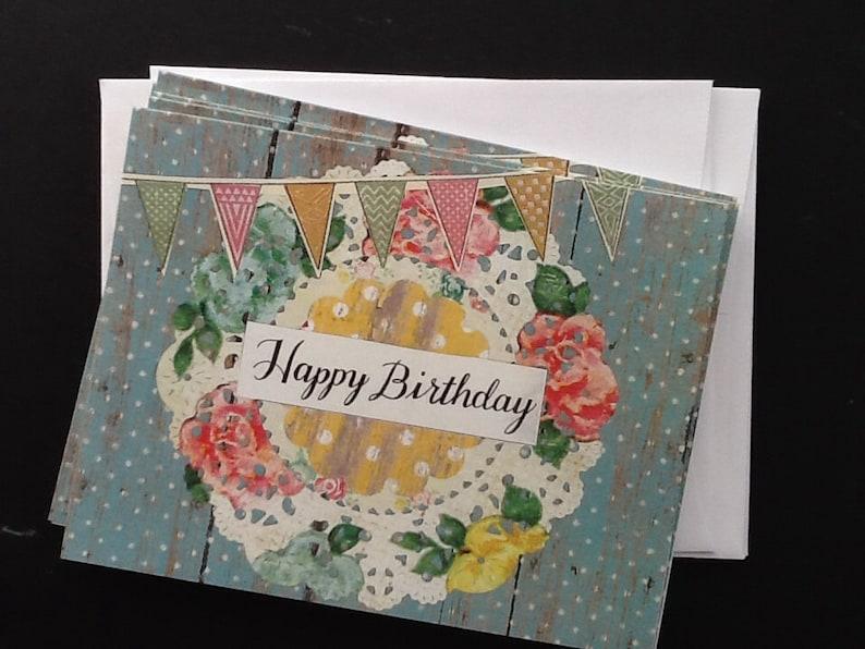 Shabby Chic Floral Doily Happy Birthday Notecard Set image 0