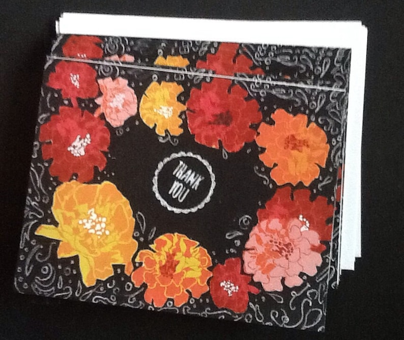 Summery Floral On Black Thank You Notecard Set image 0