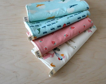 Organic Burp Cloths Set of 4 in Everyday Party - Strawberries, picnic baby shower gift