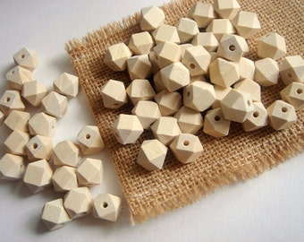 20 Unfinished Faceted Wooden  beads 12mm