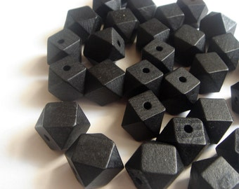 20 Geometric Wooden beads -black