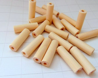 20 Unfinished Tube Wooden  beads
