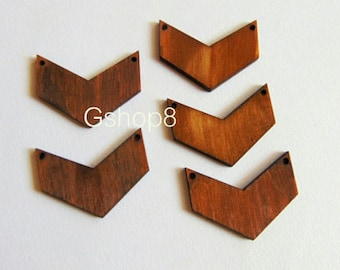 10 Wood Chevron 45mm  Ready to be Painted, Wood Chevron Tile for Jewelry, Geometric Jewelry,