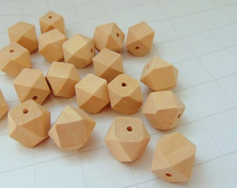 20 Unfinished Faceted Wooden  beads
