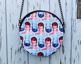 Round Red & Blue Bowie Bag - Handbag David Aladdin Sane