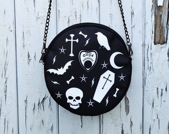 Round Black Gothic Bag - Handbag Coffin Skeleton Horror Ouija Bat