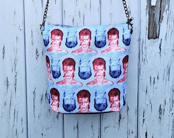 Red & Blue Bowie Handbag - Waterproof Bag - Recycled Polyester - David Aladdin Sane