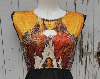 Labyrinth Black Dress - Size 10 12 14 - David Bowie Movie Skater Rockabilly