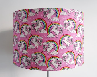 Handmade Pink Unicorn and Rainbow Lampshade
