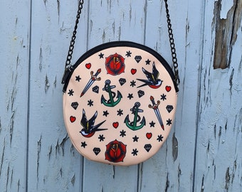 Round Vintage Tattoo Bag - Handbag Old School Nautical Anchor Sailor Jerry Swallow