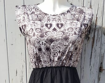 Monochrome Candy Skull Dress - Size 10 12 14 - Skater Tattoo Rockabilly Black