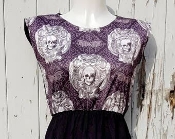 Gothic Skull & Bat Dress - Size 10 12 14 - Skater Rockabilly Lace Goth Halloween