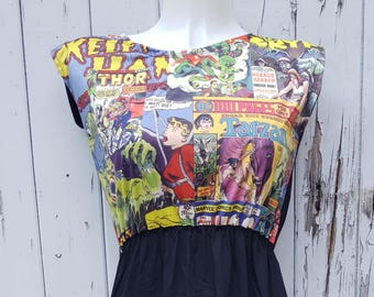 Comic Book Black Skater Dress - Size 10 12 14 - Geek Chic Superhero Rockabilly
