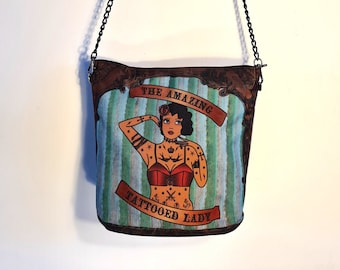 Tattooed Lady Handbag - Waterproof Bag - Recycled Polyester - Tattoo Pin Up Vintage Sailor Jerry