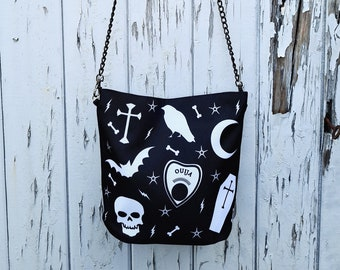 Gothic Handbag - Black Bag Bat Halloween Ouija Skull Coffin