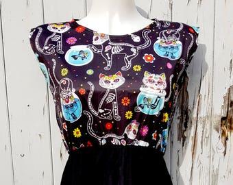 Candy Skull Cat Dress - Size 10 12 14 - Skater Rockabilly Skeleton Day of the Dead