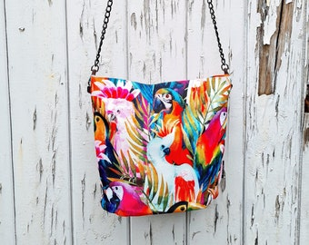 Tropical Cockatoo Handbag - Waterproof Bag - Recycled Polyester - Pale Blue - Birds Parrot Painted