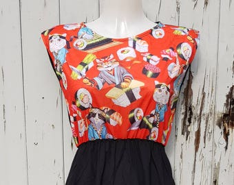 Red Sushi Cats Black Skater Dress - Size 10 12 14 - Kitten Japanese