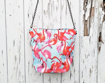 Pink Flamingo Handbag - Waterproof Bag - Recycled Polyester - Pale Blue - Tropical