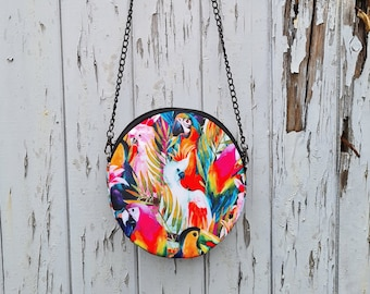 Round Tropical Bird Bag - Waterproof Handbag - 100% Recycled Polyester - Parrot Cockatoo Colourful