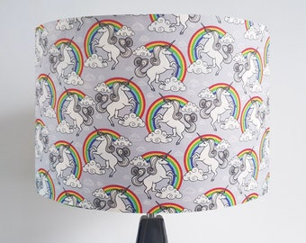 Handmade Grey Unicorn and Rainbow Lampshade -  Light Shade Vintage Home House Mystical Nursery