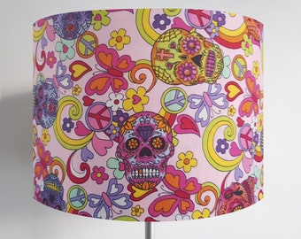 Handmade Psychedelic 60s Candy Skull Lampshade