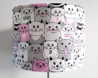 Handmade Pink and Grey Cat Lampshade
