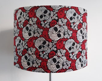 Handmade Black and Red Skull Lampshade
