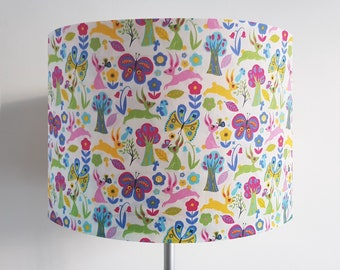 Handmade Scandi Rabbit and Flower Lampshade