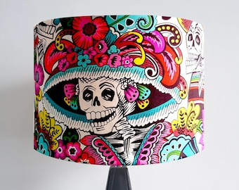 Handmade Day of the Dead Skeleton Lampshade