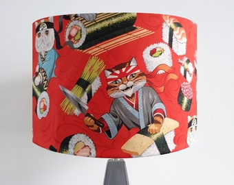 Handmade Red Sushi Cat Lampshade