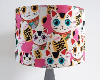 Handmade Pink Lucky Cat Lampshade