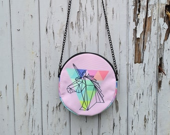 Round Pink Geometric Unicorn Bag - Waterproof Handbag - 100% Recycled Polyester