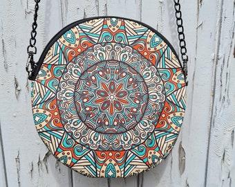 Round Flower Patterned Bag - Waterproof Handbag - 100% Recycled Polyester Geometric Hippy