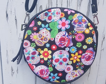 Candy Skull & Flower Round Handbag - Mexican Skeleton Sugar Day of the Dead Bag Clutch