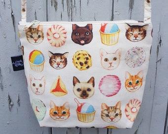 Cats and Cake Canvas Handbag - Sweet Bag Purse Cat Kitten