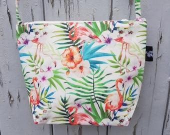 White Tropical Flamingo Natural Canvas Handbag - Hibiscus Floral Bag Purse