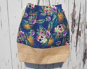 Tropical Skull Bag - Beach Summer Handbag Candy Hibiscus Pin Up