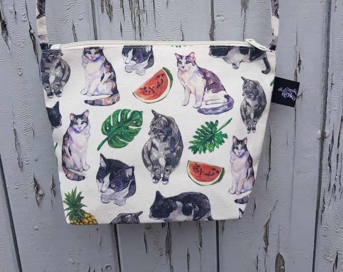 Featured listing image: Tropical Cats and Melons Canvas Handbag